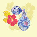 Hand drawn Perfume and flowers in  fashion background. Royalty Free Stock Photo