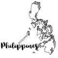 Hand drawn of Philippines map, illustration