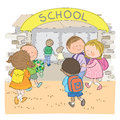 Hand drawn picture children heading back to school illustrated loose style vector eps available Stock Photo