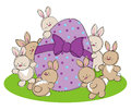 Hand drawn picture easter egg surrounded easter bunnies illustrated loose style vector eps available Stock Photos