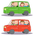 Hand drawn picture family taking trip car two mood scenarios illustrated loose style vector eps available Royalty Free Stock Images