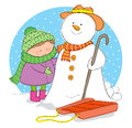Hand drawn picture winter season illustrated loose style vector eps available Stock Photography