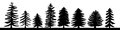 Hand drawn pine tree silhouette set. A variety of coniferous iso Royalty Free Stock Photo