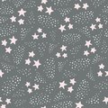 Hand drawn pink stars and spots in a seamless repeat pattern. Sweet magical background vector pattern ideal for children
