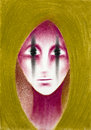 Hand drawn portrait of a pink alien with strange looking eyes using chalk pastels Royalty Free Stock Images