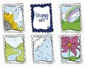 Hand drawn postage marks Royalty Free Stock Images