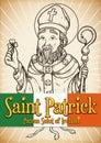 Hand Drawn Poster for Saint Patrick`s Day Celebration, Vector Illustration