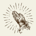 Hand-drawn praying hands. Sketch vector illustration