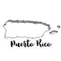 Hand drawn of Puerto Rico map, illustration