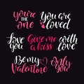 Hand drawn quotes for Valentine designe