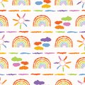 Hand drawn rainbow cloud sun illustration. Multicolor seamless vector pattern.