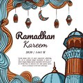 Hand drawn ramadhan kareem square greeting card
