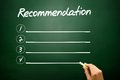 Hand drawn recommendation blank list concept on blackboard Stock Photo