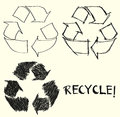 Hand drawn recycle sign Royalty Free Stock Image