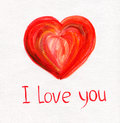 Hand Drawn Red Heart on White Paper Stock Photo