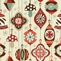 Vintage Christmas ornaments seamless vector background.