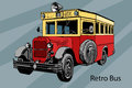 Hand-drawn Retro city bus vector drawing Royalty Free Stock Photo