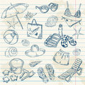 Hand drawn retro icons summer beach set Stock Images
