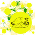 A hand drawn retro style roast thanksgiving turkey background Royalty Free Stock Photo