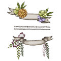 Hand drawn ribbon decorated with flower and leaves. Ready template for your design. Vector illustration.