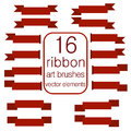Hand drawn Ribbon vector brushes, graphic art brush set, banner  collection Royalty Free Stock Photo