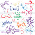 Hand drawn ribbons and bows set vector illustration a collection of graphic ribbons and bows design elements set Royalty Free Stock Images