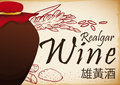 Hand Drawn Rice, Powder and Crystals for Traditional Realgar Wine, Vector Illustration