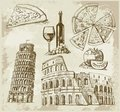 Hand drawn Rome set Stock Photos