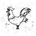 Hand drawn rooster on white background. Roosters silhouette. The
