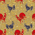Hand drawn Roosters. Seamless pattern. Royalty Free Stock Photo