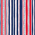 Hand-Drawn Rope and Chains Uneven Vertical Stripes Stripes Vector Seamless Pattern. Red White and Blue Marine Background