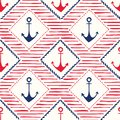 Hand-Drawn Rope Frames with Anchors and Stripes Vector Seamless Pattern. Blue and Red Marine Background