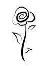 Hand drawn rose symbol Stock Photo
