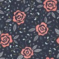 Hand Drawn Roses, Mimicking Folk Embroidery Stitches, on Dark Blue Background Floral Vector Seamless Pattern Royalty Free Stock Photo