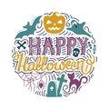 Hand drawn round print with lettering Happy Halloween