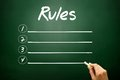 Hand drawn RULES blank list concept on blackboard Royalty Free Stock Photo