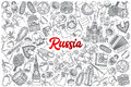 Hand drawn Russia doodle set with lettering