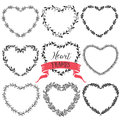 Hand drawn rustic vintage heart wreaths. Floral vector graphic. Royalty Free Stock Photo