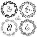 Hand drawn rustic vintage wreaths with lettering and ampersand.