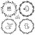 Hand drawn rustic vintage wreaths with lettering