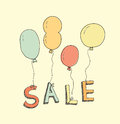 Hand drawn sale illustration retro of balloons with text in pastel colors symbolizing advertisement of goods and services isolated Stock Images