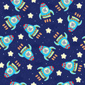 Hand drawn Sample pattern with cute Rocket and bear vector illustration.