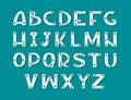 Hand drawn scandinavian art font. White alphabet on dark background.