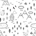 Hand drawn scandinavian landscape with animals, trees, lake, and mountains, seamless pattern. Scandinavian style Royalty Free Stock Photo