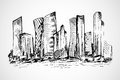 Hand drawn scene of office buildings Royalty Free Stock Photo
