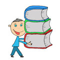 Hand drawn school boy smart carrying a stack of books isolated on white background Stock Image