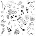 Hand drawn school items set Royalty Free Stock Photo