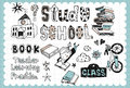 Hand drawn school set vintage illustration with and study related words in style and on the grid background all text and Stock Image