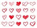 Hand Drawn Scribble Hearts. Pa...