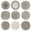 Hand drawn scribble set of doodle circles, on white background. Vector illustration. Sketch, set of textures. Elements fo